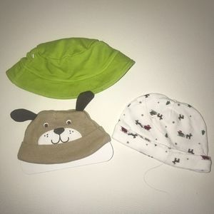 Lot 3 Infant Hats Brown Puppy, White Christmas